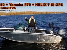 Pachet promo barca Fish 50 cu Yamaha 70AETL si sonar Helix 7