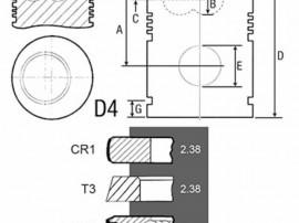Piston si segmenti tractor Fiat 24/32-240